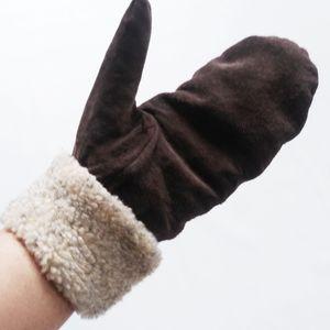 Classic brown/tan faux suede/fur mittens medium